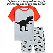 Little Pajamas Boys Pajamas 100% Cotton Sleepwear,Gray Dino2,5
