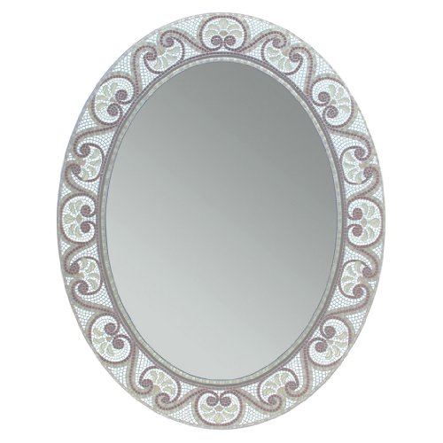 - Head West Earthtone Mosaic Oval Mirror, 23 by 29-Inch