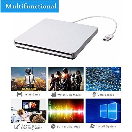 External CD DVD Drive,ONCHOICE USB 2.0 External Disc Optical Drive, Slim CD/DVD-RW Writer Player Burner for Windows OS, Laptop Desktop PC by ONCHOICE (Image #2)