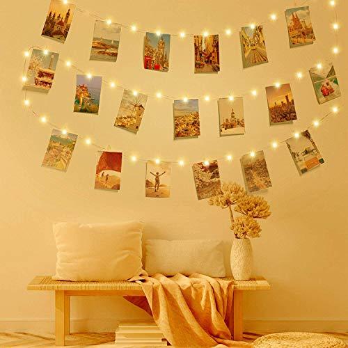 Clip Cadena de Luces LED, LECLSTAR LED Fotoclips Guirnalda de Luces,ideal para Hogar, Pared, Navidad, Fiesta, Boda…