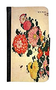 Rikki KnightTM Katsushika Hokusai Art Chrysanthemum and Bee Design Galaxy S5 Premium PU Leather Wallet Type Flip Case with Magnetic Flap for Samsung Galaxy S5 i9500