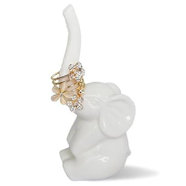 HOME SMILE Elephant Ring Holder for Jewelry,Engagement Wedding Ring Display Holder Stand Trinket Trays (Litltle White)