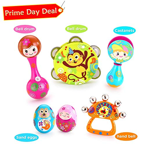 VATOS Toddler Musical Instruments,Newborn Toy,Musical Baby Toy, 6PCS Baby Drum Rattle Maracas Castanets Egg Shaker,Toddler Musical Toys Sets, Toys for 3, 6, 9, 12 Month Infants Baby Kids