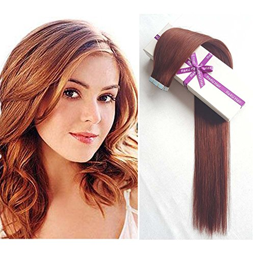 """Dark Auburn Tape in Hair Extensions, Re4U 20inch Straight Copper Red 100% Blue Tape in Human Remy Hair Extensions (20""""-20pcs 50g/pack #33)"""