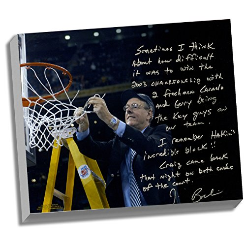 Syracuse Orangemen Boeheim Facsimile Cutting Down the Net Story Stretched 16x20 Story Canvas by Steiner Sports