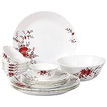 Cello Imperial Ocean Flower Opalware Dinner Set, 19 Pieces, White