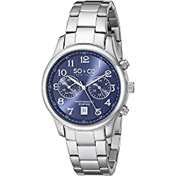 SO&CO New York Men's 5031.3 Monticello Quartz Blue Dial GMT Date Stainless Steel Link Bracelet Watch