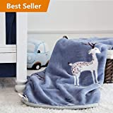 TILLYOU All-Season Flannel Fleece Baby Blanket for Boys, Ultra Soft Plush Bebe Blanket Quilt for Toddler Bed Crib Sofa, 100% Easy Care Microfiber, 39x47 Navy Reindeer(Large)
