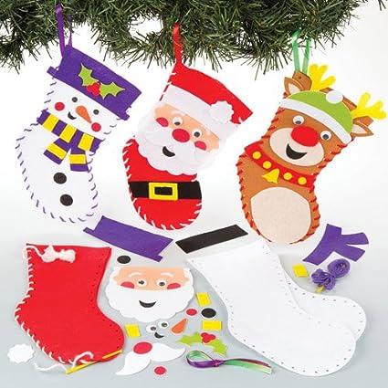 Baker Ross Kits de Costura de Calcetines de Navidad Que los Niños Pueden Crear, Decorar