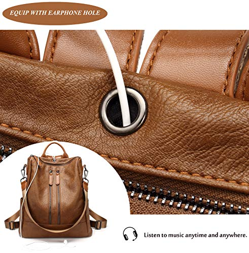 Backpack Bag Leather Shoulder Backpack Girls Dz Purse �� Satchel PU Ladies for FIGROL School Travel Casual Bag brown Women IwX8pqO