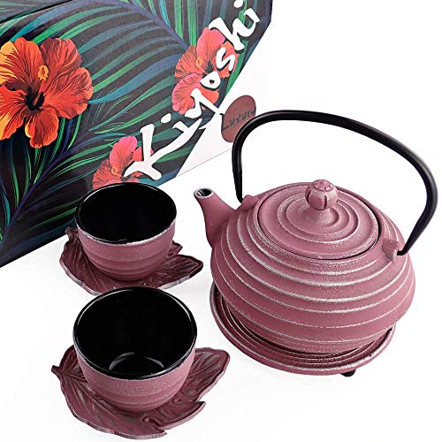 KIYOSHI Luxury Japanese Cast Iron Tea Set 7 Pieces - Pink and Silver color - Teapot (23,67Oz) + Stainless Steel Infuser + 2 Large Iron Cups (4Oz each) + 2 Iron Leaf Saucers + Trivet - Gift set