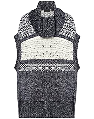 Bcbg Maxazria Elinor Fairisle Oversized Boxy Tunic Medium/Large, Blue Haze Combo)