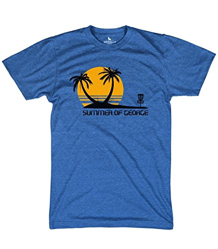 - Summer of George Shirt Funny disc Golf tees, Blue, Large