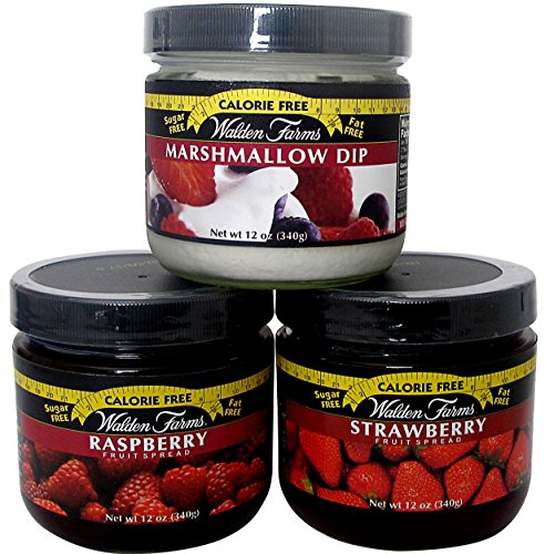 Walden Farms Products – Marshmallow Dip and Raspberry & Strawberry Spreads - Calorie Free, Carb Free - 1 Jar - Farms Walden Raspberry