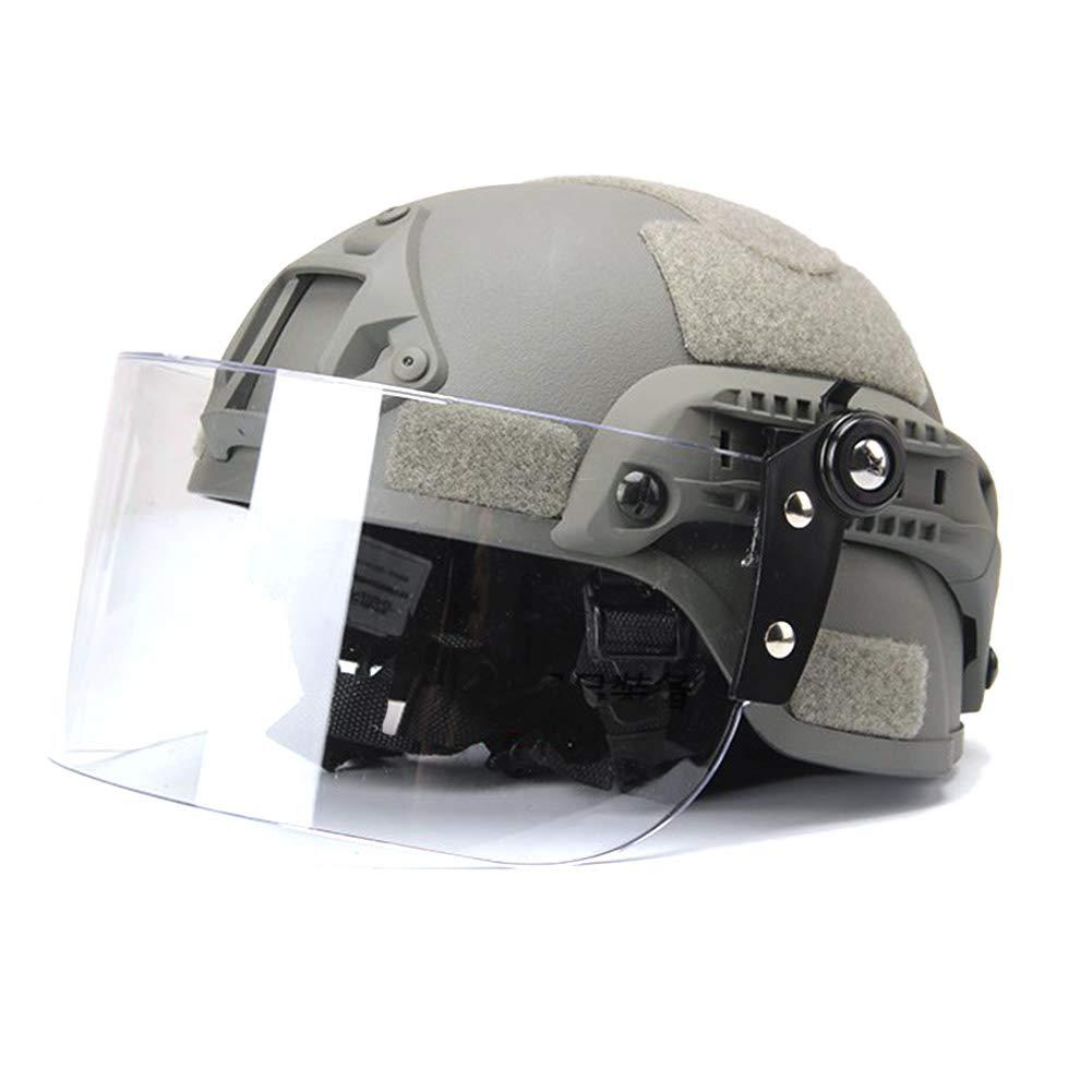 WTZWY ICH 2000 Tactical Schnellhelm CS Airsoft Schutz Milit/är Paintball Helm Proof Maske Mit Klaren Visier NVG Mount and Side Rail-