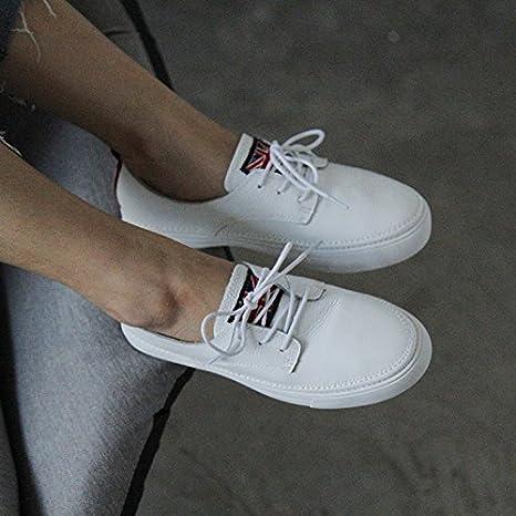 677221515c7 HBDLH-Zapatos de Mujer El Otoño De Fondo Grueso Pequeños Zapatos Blancos De  Encaje Hembra De Fondo Plano Cabeza Redonda Zapatos Zapatos Casuales.