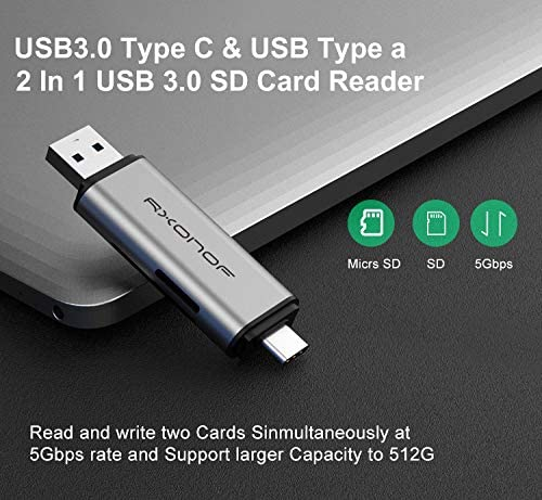 Windows Linux SDXC SD Card Reader 2 in 1 Rxonof USB-C and USB A Memory Card Reader 2 in 1 USB Card Reader OTG Card Adapter for SD MMC Card Compatible with Mac SDHC Micro SD PC Laptop