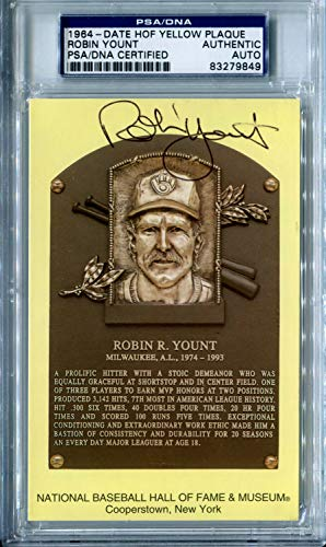 Robin Yount Autographed Signed Slabbed Hof Hall Of Fame Plaque Postcard Auto Brewers PSA/DNA