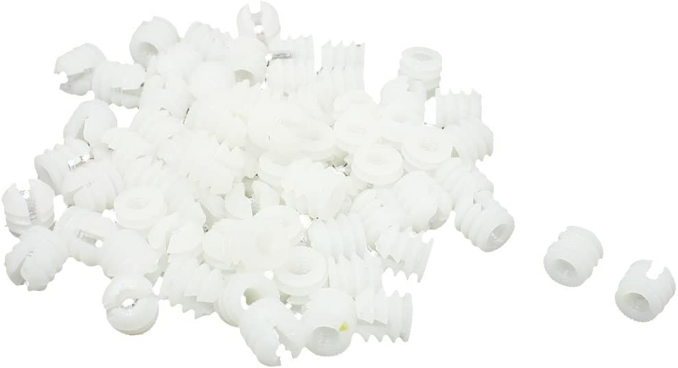 Aexit 70 Pcs Nuts Furniture Connector Fittings White Hard Plastic Panel Nuts Pre-Inserted Nut