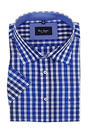 41200 Ben Green Mens Pure Cotton Short Sleeved Smart Casual Shirts