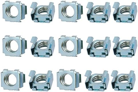 Sourcingmap/® 15pcs M4 Carbon Steel Zinc Plated Cage Nut Silver Tone for Server Shelf Cabinet