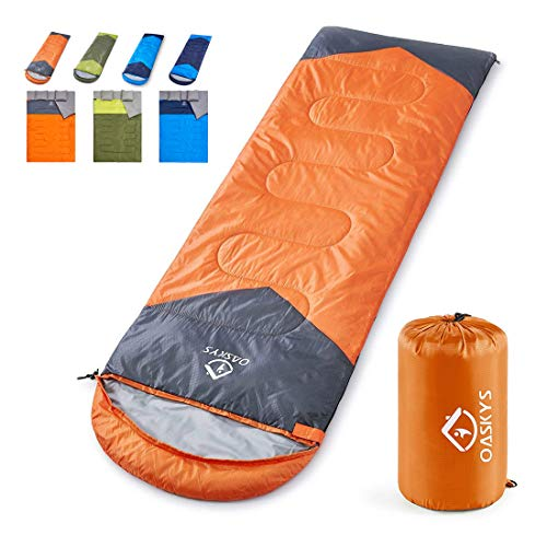 Kids Sleeping Bags (oaskys Camping Sleeping Bag - 3 Season Warm & Cool Weather - Summer, Spring, Fall, Lightweight, Waterproof for Adults & Kids - Camping Gear Equipment, Traveling, and)
