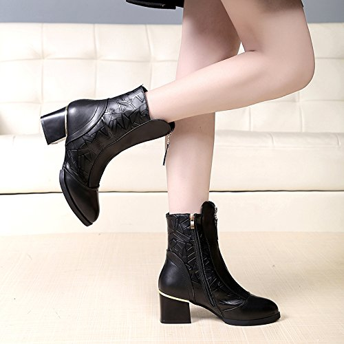 KHSKX-Tacon Alto Talón Zapatos De Tacon Hembra Martin Botas Botas Cortas Primavera Y Otoño - Invierno Zipper Black Cashmere Boots Shoes Treinta Y Ocho Thirty-nine