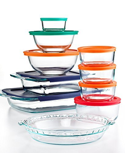 Pyrex Bake and Store 19 Piece Food Storage Container Set with Colored ()