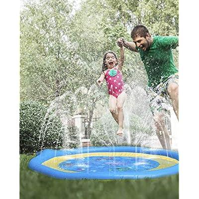 Sprinkler for Kids Splash Pad for Toddlers Outdoor Toys for Toddlers Outside Toys for Kids Water Toys Sprinkle Play Mat Backyard Water Park for Baby Pool for Kids Non-Slip Bubble Bottom 68 Inch: Toys & Games