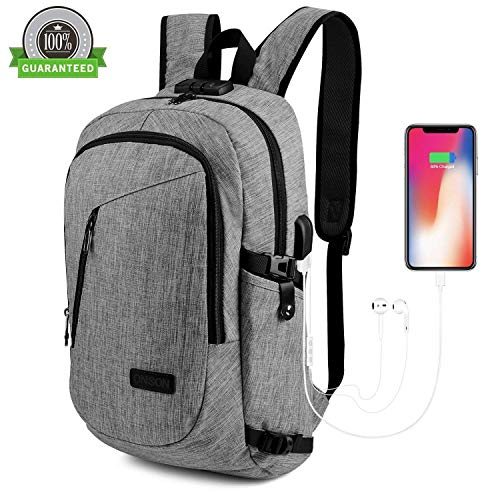 PLmuzsz Travel Laptop Backpack, ONSON Laptop Backpack Anti Theft Business Backpack for Men Women, Slim Computer School Bag with USB Charging Port Fits 15.6 Inch Laptop Notebook - Gray
