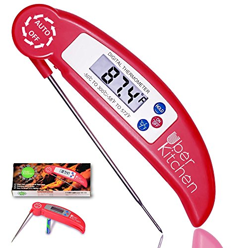 Digital Instant Read Food Meat Kitchen Thermometer for Cooking Grilling Barbecue Candy Baking Baby Formula Temperature Check BBQ Grill Coffee Tea Milk Burger - Collapsible Stainless Steel Probe - Red