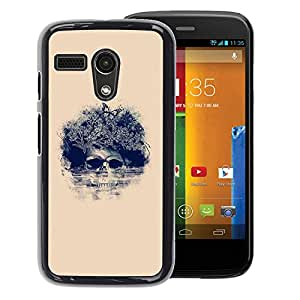 FU-Orionis Colorful Printed Hard Protective Back Case Cover Shell Skin for Motorola Moto G 1 1ST Gen - Floral Skull & Hand