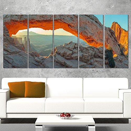 Designart Mesa Arch Canyon Lands Utah Park-Landscape Art Canvas Print-60x28 5 Piece, 60x28-5 Equal Panels