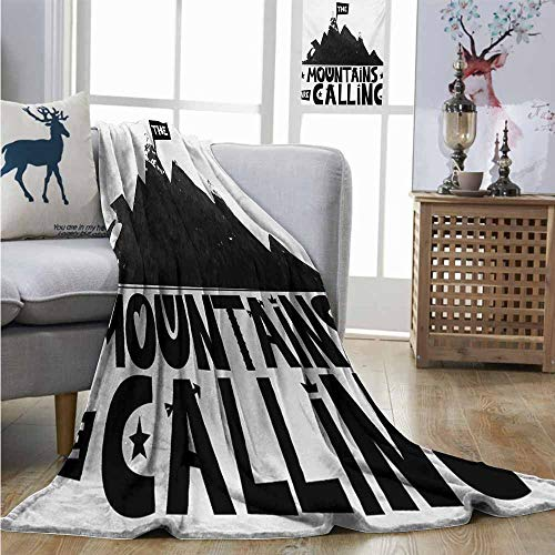Mountain Wool Knitting Yarn - Homrkey Lightweight Blanket Quote Mountains are Calling Inscription in Scandinavian Style Climbing and Traveling Soft Blanket Microfiber W70 xL84 Black and White