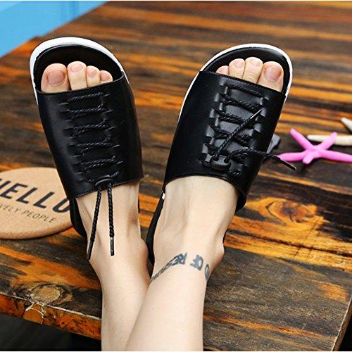 Pantofole le loro Nero Nero legano piatti scarpe EU43 sandali dimensioni Sandali estivi spiaggia ZHANGRONG uomini Gli elastici UK9 Colore CN44 IXwq6xrwH