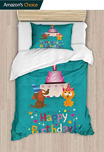 1st Birthday 2 PCS King Size Comforter Set,Toddler Kids Party Cute Cat and Dog with Hats Cake on Petrol Blue Backdrop Decorative 2 Piece Bedding Set with 1 Pillow Sham 63