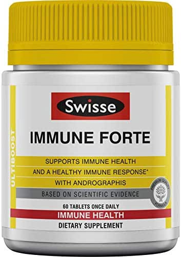 Swisse Ultiboost Immune Forte | Andrographis, Vitamin C, Elderberry & Echinacea for Healthy Immune Response | 60 Tablets