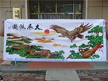 AIGUFENG hecho a mano en punto de cruz acabado exposición gran plan deseoso Eagle Gran Muralla bordada sala de estar bordado decorativo pinturas,148 * 62 ...
