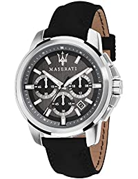 Men's 'Successo ' Quartz Stainless Steel and Leather Fashion Watch, Color:Black (Model: R8871621006)