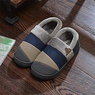 Oudan Pantoufles d'hiver pour Hommes en Cuir Nubuck, Chaussures en Coton doublées de la Maison, 43 (coloré : -, Taille : -)