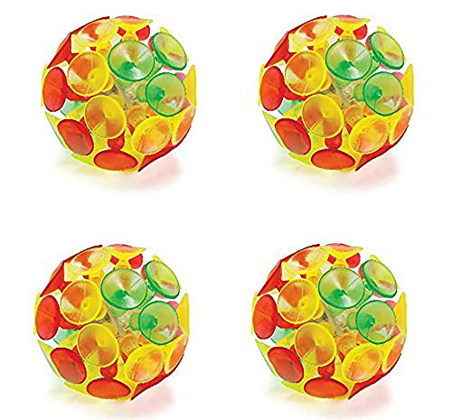 Kicko Light-up Suction Cup Ball - 4 Pack - 2 Inches Colorful - Batteries Included - for Kids Boys and Girls Great Party Favors, Bag Stuffers, Fun, Toy, Gift, Prize, Piñata Filler