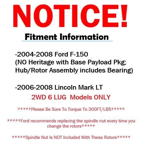 330mm 12.99 Detroit Axle 6 Lug Standard FRONT Brake Rotors for 2WD Models 2005-2008 Ford F-150 2WD - 2006-2008 Lincoln Mark LT 2WD 6-Lug