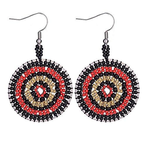 Handmade Boho Native American Earrings for Women Multicolor Beaded Drop Dangle Fringe Seed Disc Bead Ear Beadwork Jewelry-Jeka Black Red ()