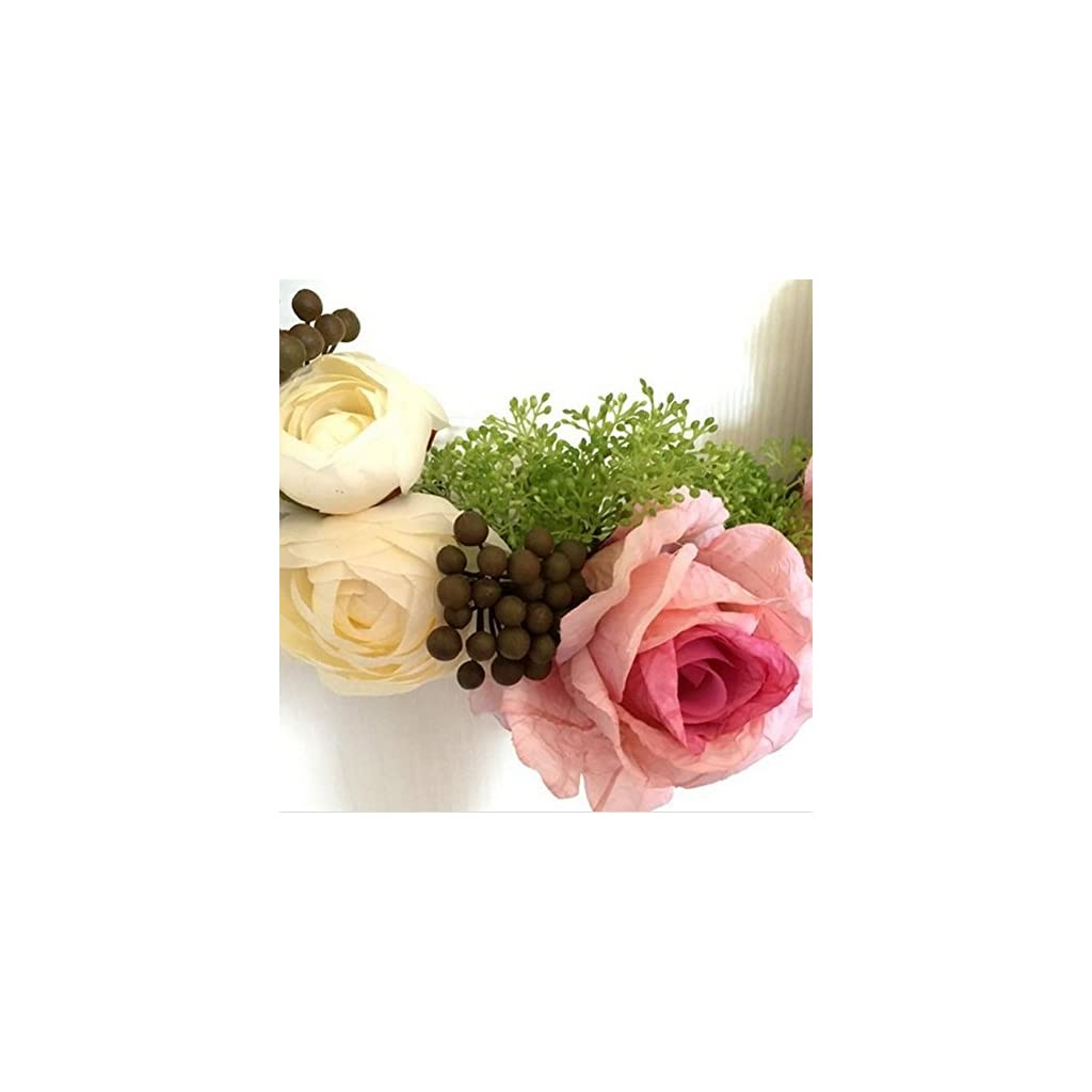 Adeeing-12-Inches-Floral-Artificial-Rose-Green-Leaves-Flower-Rattan-Wreath-Door-Hanging-Wall-Window-Decoration-Holiday-Festival-Wedding-Decor-Pink