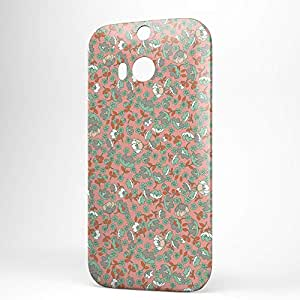Floral HTC One M8 3D wrap around Case - Pink and Grey