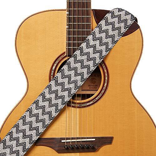 (Amumu Chevron Woven Guitar Strap Black White Cotton Linen for Acoustic, Electric and Bass Guitars with Strap Blocks & Headstock Strap Tie - 2