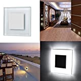 INHDBOX 3W Recessed Square Wall Stairs LED Lamp Light 85V~ 265V-Shatter Resistant Tempered Glass with Aluminum, Modern Cool White Guide Light Indoor / Outdoor for Stairways Decks, Balcony & More …