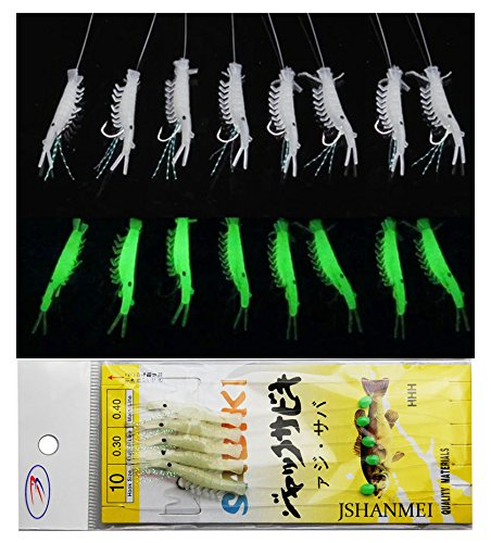 10 Packs Luminous Shrimp Sabiki Bait Rigs Glitter Glow in the Dark Fish Saltwater Bait Lure Catching Hook Tackle Fishing Rigs (Fish Bait Saltwater)