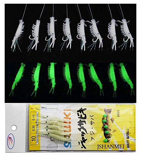 10 Packs Luminous Shrimp Sabiki Bait Rigs Glitter Glow in the Dark Fish Saltwater Bait Lure Catching Hook Tackle Fishing Rigs (Bait Fish Saltwater)