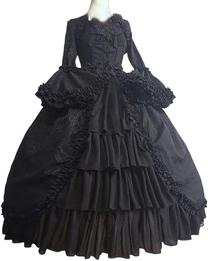 Womens Vintage Gothic Deep V-Neck Patchwork Dress Bow Hollow Retro Party Dress